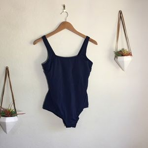 Land's End navy blue one piece bathing suit